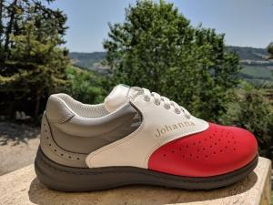 Johanna: elegant Grau, Rot, Weiß