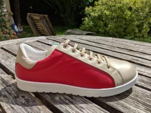 42, Sneakers Beige-Rot,